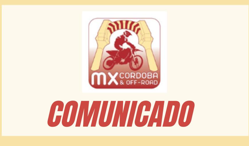 COMUNICADO OFICIAL DEL C.D. MOTOCROSS Y OFF-ROAD DE CÓRDOBA